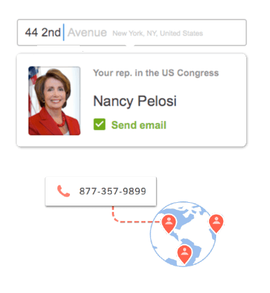 Easily connect your supporters with their local representatives.